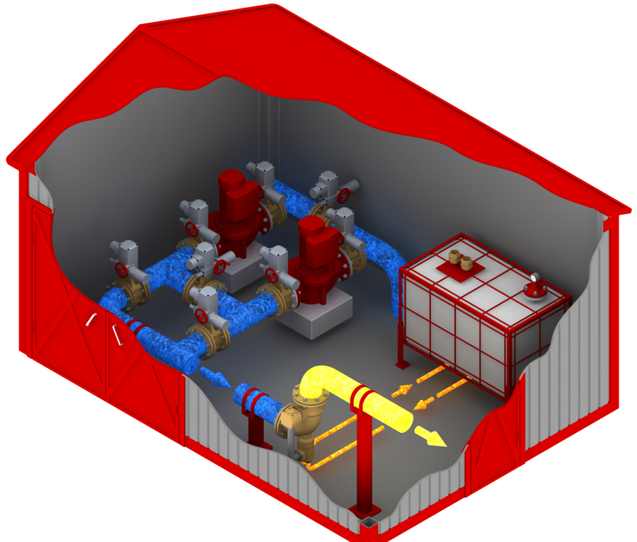 схема противопожарной станции