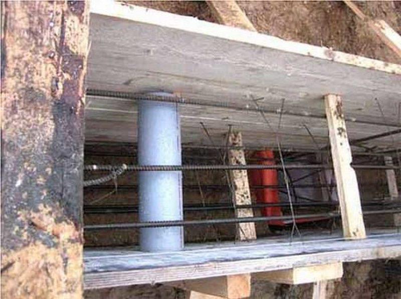 опалубка для ленточного фундамента с вставками под вентиляционные отверстия